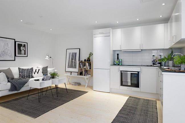 Tendencias y consejos de iluminaci n para el hogar - Outstanding one room apartment decoration in bright white design ...