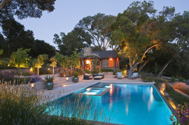 Impressive-Pool-Shapes-Ideas-in-Pool-Rustic-design-ideas-with-accent-lighting-California-hot-tub-natives-outdoor