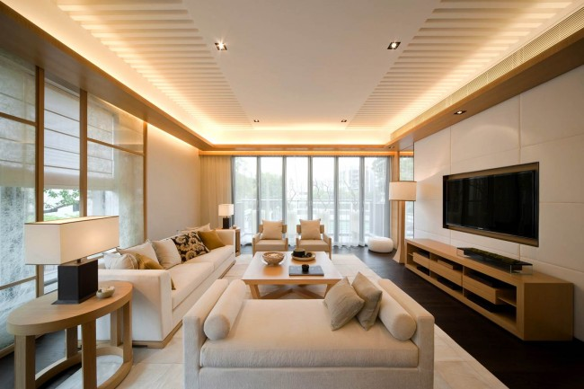 Eye-Catching-Natural-Living-Rooms-Completed-with-Stunning-LED-Lights-above-White-Sofa-and-Chairs-near-the-Wooden-Cabinet