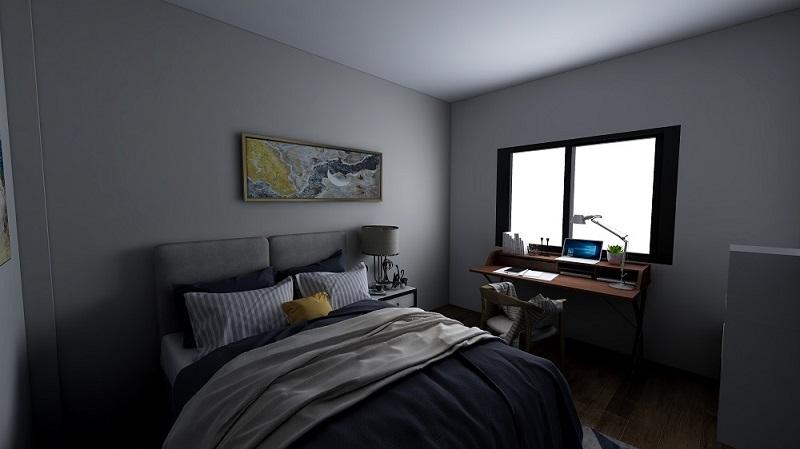 Habitación con iluminación apagada